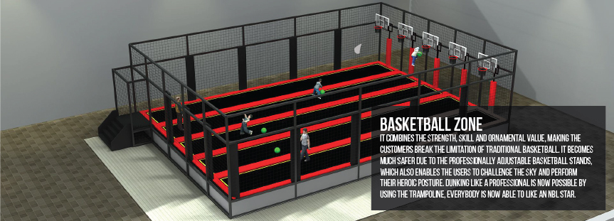 Basketball zone for trampoline parks