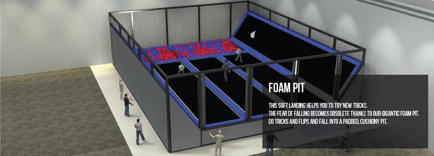Foam pit for trampoline parks
